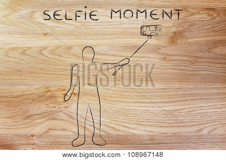 Person Taking A Photo With Phone, With Text Selfie Moment