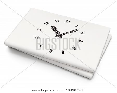 Time concept: Clock on Blank Newspaper background