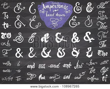 Ampersands And Catchwords Hand Drawn Set For Logo And Label Designs. Vintage Style Hand Lettered Sym