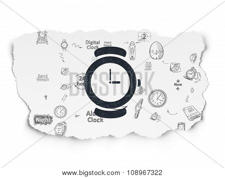 Time concept: Hand Watch on Torn Paper background
