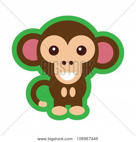 flat icon with long shadow happy monkey