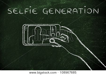 Hand Holding Smartphone Taking A Photo, With Text Selfie Generation