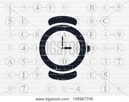 Time concept: Watch on wall background