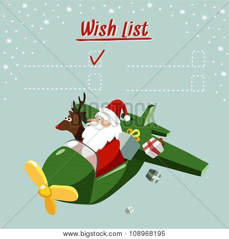 Cute Christmas Card, Wish List With Santa Claus And Reindeer Flying The Plane, Vector