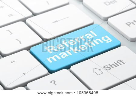 Advertising concept: Referral Marketing on computer keyboard background