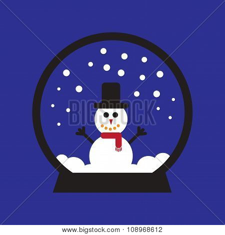 flat icon on blue background Snowman snow globe