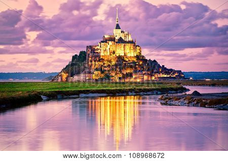 Mont Saint-michel, France, On Sunset