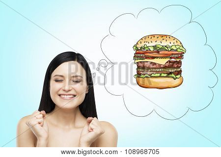 A Brunette Woman Is Thinking About Burger. A Fast Food Concept. Blue Background.