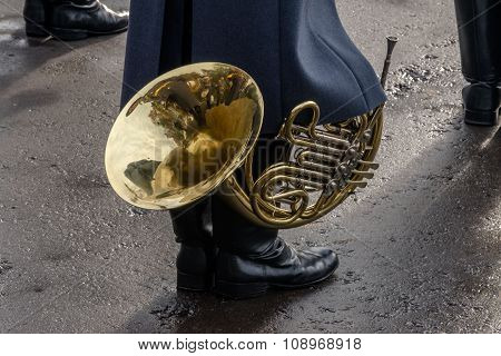 Musician, musical instrument, brass musical instrument, French horn.