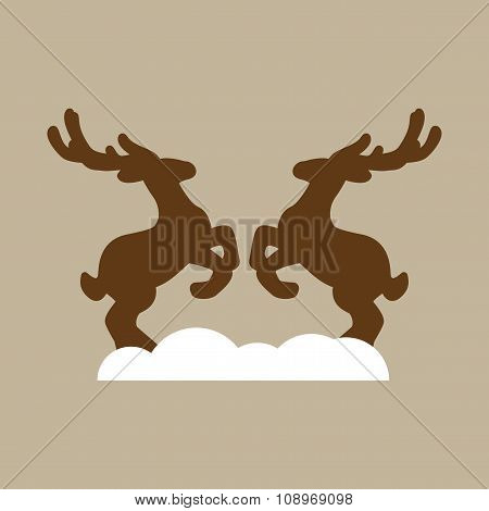 flat icon on stylish background pair of deer