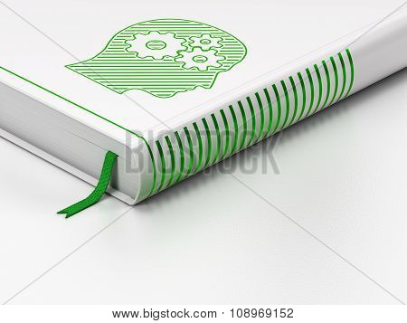 Marketing concept: closed book, Head With Gears on white background