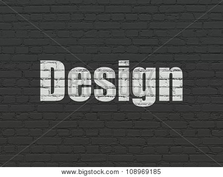 Marketing concept: Design on wall background