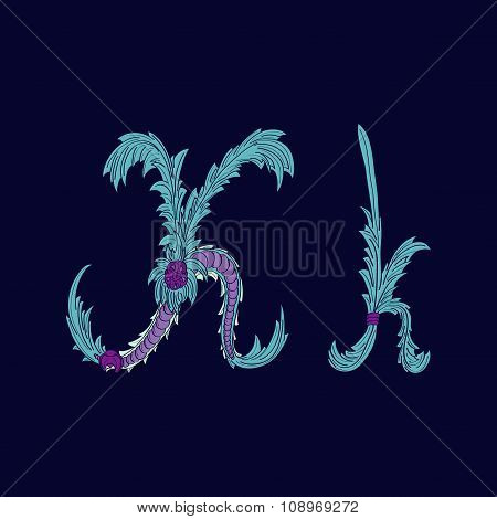 Abstract letter K logo icon  in Blue tropical style