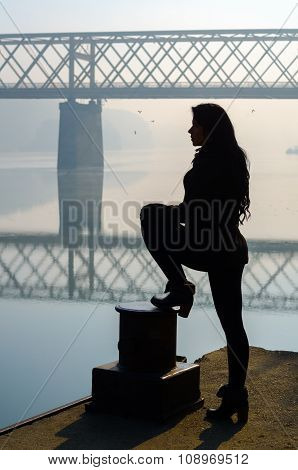 Silhouette Of Beautiful Girl Standing On The Dock With Bridge And Flying Birds In The Background On
