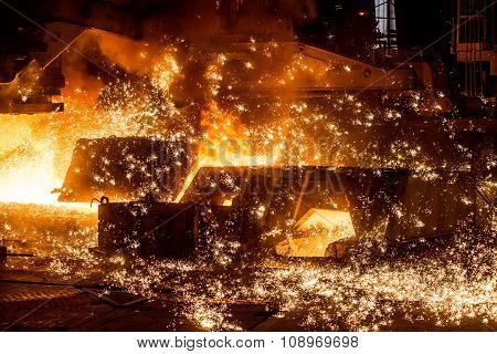 blast furnace with sparks