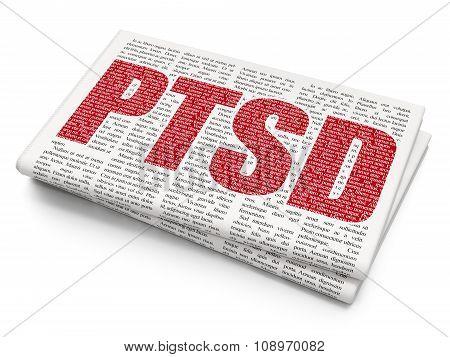 Medicine concept: PTSD on Newspaper background
