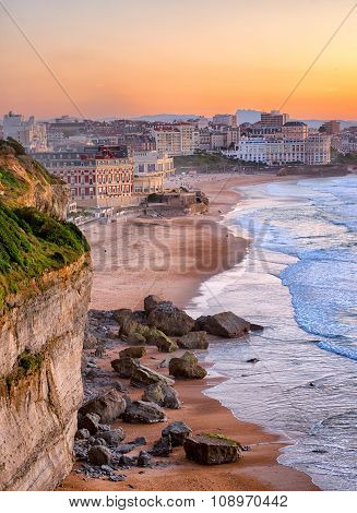 Sunset Over Biarritz Beach, France