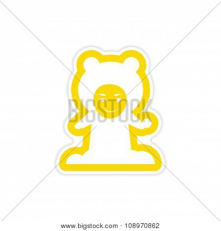 paper sticker on white background child playing snowballs