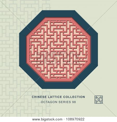 Chinese window tracery octagon frame 98 cross line