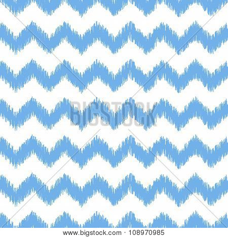 Blue ikat seamless vector pattern. Textile fabric design.