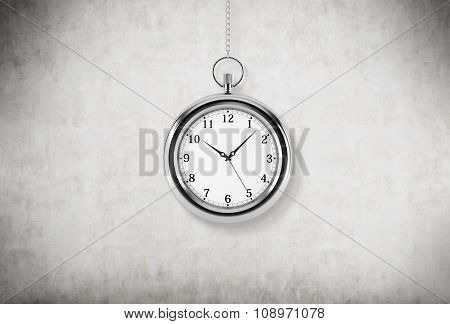 A Model Of Pocket Watch Which Is Hanging On The Chain. A Concept Of A Value Of Time In Business. Con