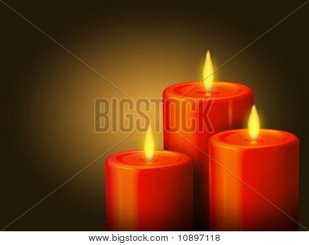 3 Rote Kerzen