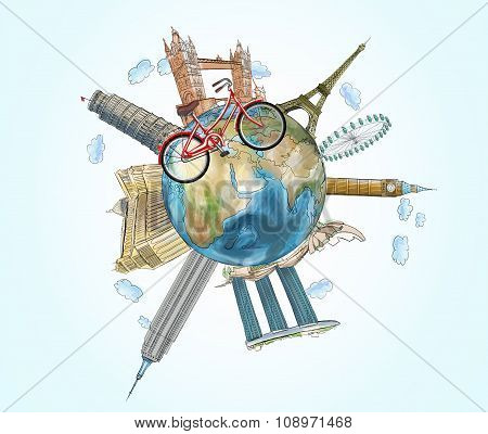 An Illustration Of A Globe With The Most Famous Places In The World. A Model Of Bicycle Crosses Of T