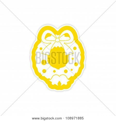 paper sticker on white background Christmas wreath