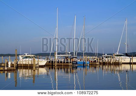 Yachts and Sailboats in the Marina