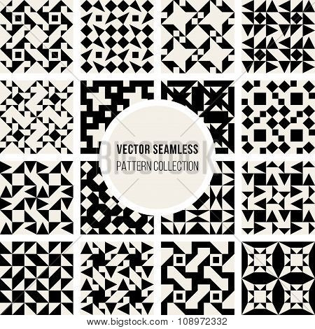 Set Of Sixteen Vector Seamless Black And White Geometric Pattern Collection