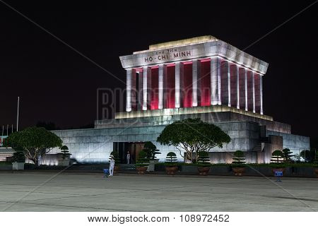 Hanoi, Vietnam - Circa August 2015: Ho Chi Minh Mausoleum In Hanoi, Vietnam By  Night