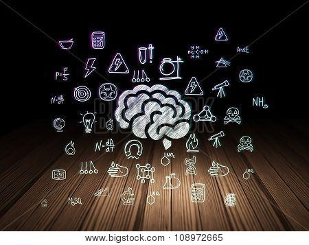 Science concept: Brain in grunge dark room