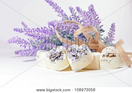 Spa soap hearts with a lavender flowers