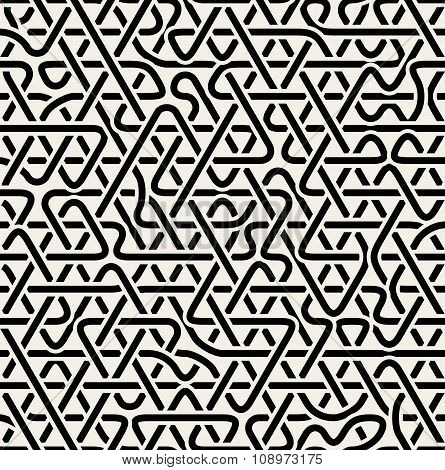 Vector Seamless Black And White Triangle Overlapping Line Junction Pattern