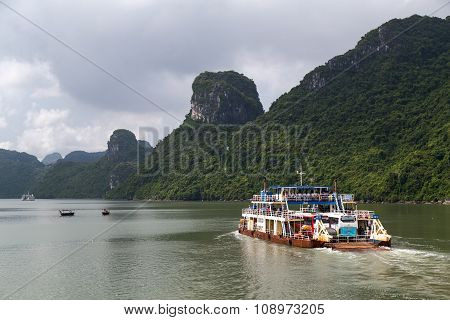 Halong Bay, Vietnam - Circa August 2015: Cruise Ship Sails In Halong Bay,  Vietnam