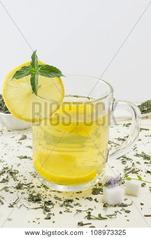 Mint Tea With Lemon And A Fresh Mint