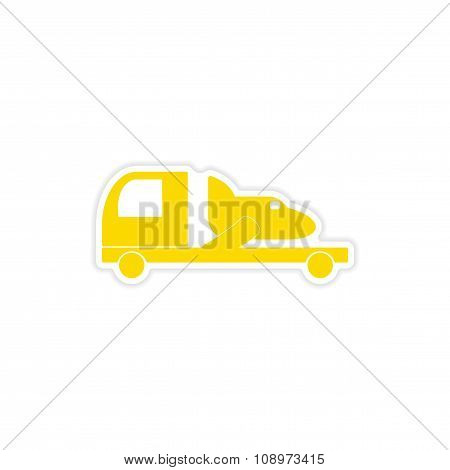 icon sticker realistic design on paper car airplane delivery