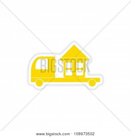 icon sticker realistic design on paper truck home delivery