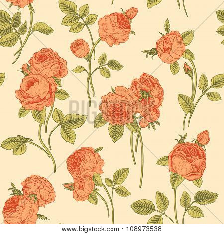 Vintage vector seamless pattern with bouquets blooming garden Victorian coral roses on a beige backg