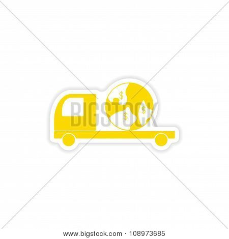 icon sticker realistic design on paper International truck transportation