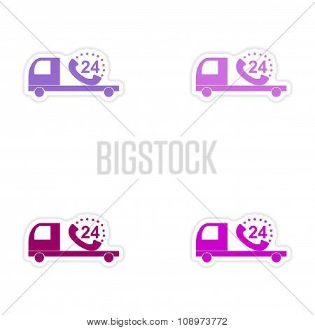 assembly realistic sticker design on paper Truck service around clock