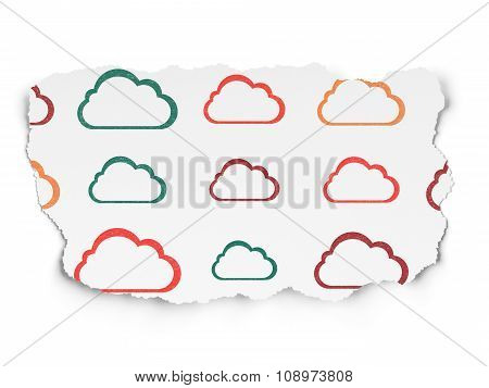 Cloud computing concept: Cloud icons on Torn Paper background