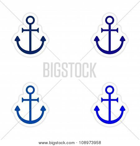 assembly realistic sticker design on paper anchor bright