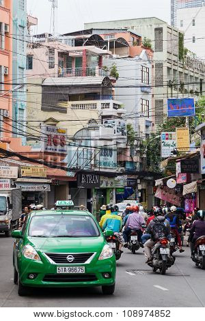 Ho Chi Minh, Vietnam - Circa August 2015: Street Traffic In Ho Chi Minh City,  Vietnam
