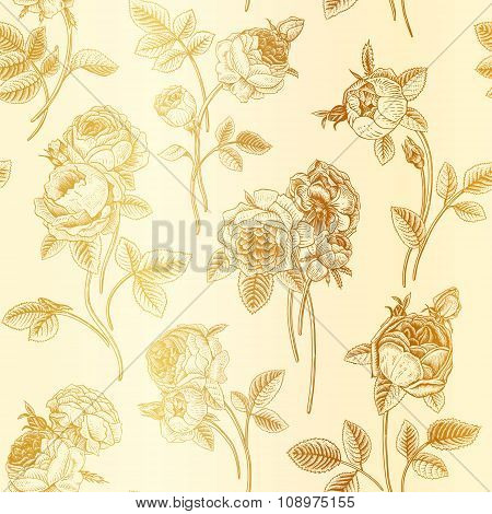 Vintage vector seamless pattern with bouquets of flowers blooming garden Victorian roses.