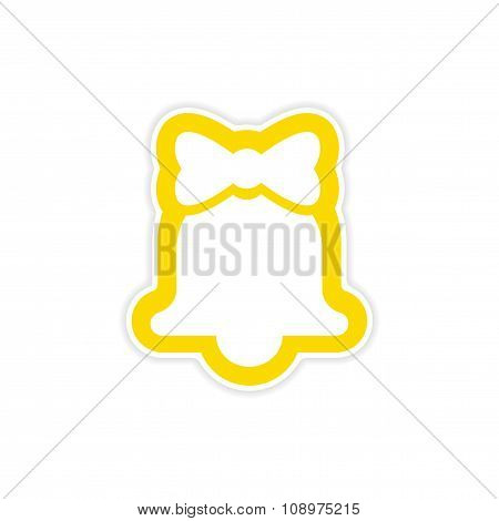 paper sticker on white background Christmas bell