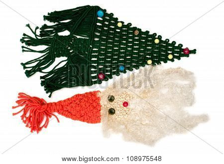 Isolated Woven Santa Claus And Christmas Tree