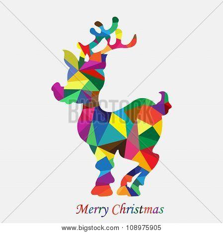 Merry Christmas, triangle, reindeer, flat, vector illustration
