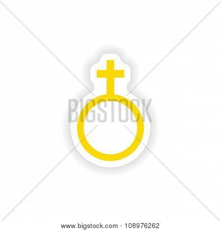 icon sticker realistic design on paper female