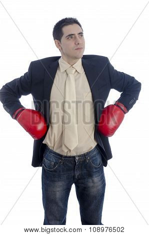 Man In Suit With Red Boxing Gloves On His Hips